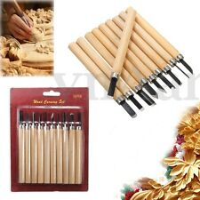 10Pcs Wood Carving Tool Set Whittling Wooden Handle Chisel Woodworkers Tool Kit