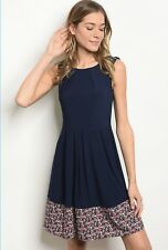 NWT Women's 2X Blue Floral Midi Dress Fall Winter Spring BOUTIQUE