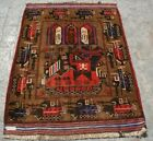 AFGHAN HAND MADE WAR RUG IN MEMORY OF SOVIET UNION WAR 100% WOOL HAND KNOTTED