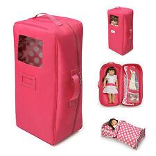 Doll Travel Case 18 American Girl Dolls Dark Pink Suitcase Bedding Carrier Bag