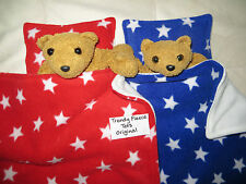 TWIN DOLL cot pram BLANKET BEDDING PILLOW sets RED & BLUE with WHITE STARS