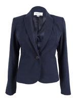 Calvin Klein Women's Petite Peaked 1-Button Blazer (6P, Navy)
