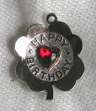 Vintage ELCO Sterling Silver Lucky Birthday Clover Red Heart Charm