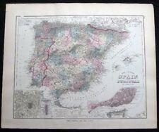 1882 Original Map Spain & Portugal + Germany Austria Switzerland Hand Colored
