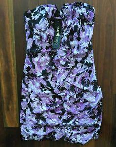 NWT Bluejuice Purple Strapless Dress - 8 - Purple & Black Short Mini By Sheike