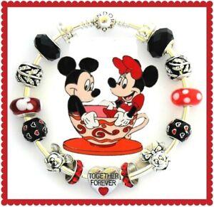 Authentic Pandora Charm Bracelet Disney Mickey Mouse Silver with European Charms