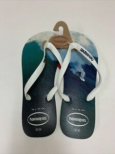 Havaianas Mens Size 13 EUR 47/48 Surfing Scene Flip Flop Sandals New With Tags