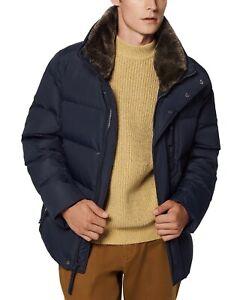 Marc New York Horizon Men's Down Coat Large Blue Fur Collar