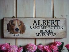 Signo de Beagle Perro Placa Divertido Perro De Madera Puerta Signo de Jardín Cartel Señal Cuidado de Perro