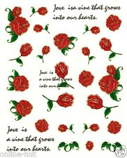 One Stroke Sticker, Rose, rote Rosen, Blume, Blumen, Tattoo, Aufkleber Nr. 1567