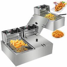 5000w Electric Countertop Deep Fryer Dual Tank Commercial Restaurant 612 Liter