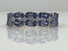 Genuine Tanzanite & Diamond 14K Yellow Gold Ring, New, Size 7