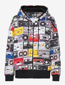 Rare Love Moschino Unisex Oversized Cassette Tape Print Hoodie / Jacket RRP £335