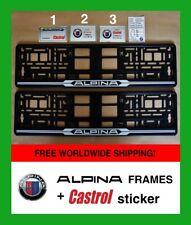 2X ALPINA 3Colors Number Plate Surrounds +CASTROL oil sticker Frame Registration