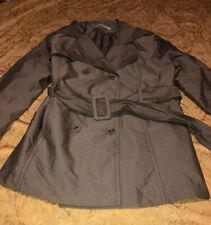 Women's Cato Rain Green Stripe Jacket With Belt Large