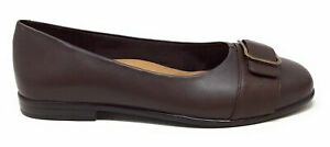 Trotters Womens Aubrey Ballet Flat Shoes Dark Brown Leather Size 8.5 Wide