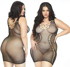 Black Seamless Micro Net Hourglass Plus Size Mini Dress, Fishnet, Sexy Bedroom
