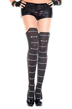 Black Lace Up Faux Stockings Tights Opaque Sheer Rocker Punk Goth Burlesque