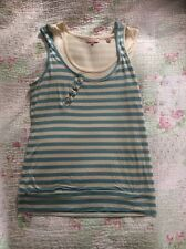Delightful TED BAKER Double Layer Stripy Top-size 10/12. Cream/ Sky Blue VGC