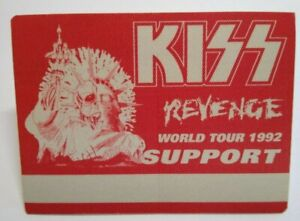 Kiss Revenge Backstage Pass Original Hard Rock Music Concert Tour Red Skull 1992