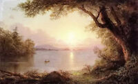 Oil painting frederic edwin church - landscape in the adirondacks with rivers @@