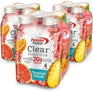 Premier Protein Clear Drink, Tropical Punch, 16.9 fl oz Bottle - 12 pack