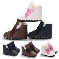 Winter Baby Boy Girls Soft Sole Snow Boots Crib Toddler Lace Up Flat Boots Shoes