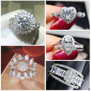 925 Silver Rings for Women Fashion White Sapphire Wedding Jewelry Gift Size 5-10