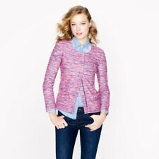 J.CREW Poppy Moto Blazer Jacket Sz S Pink Purple Micro Tweed Boucle Zip Up Suit