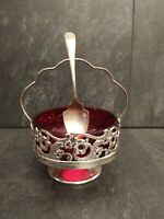 Vintage Ruby Glass Sugar Bowl With Silver Plated Spoon