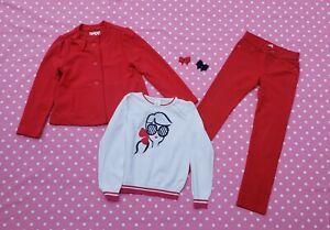 Gymboree girls 3pc outfit jacket sweater pants size M 7-8