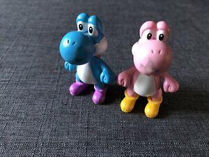 "2007 Nintendo Yoshi PVC Mini Figures Blue And  Pink 2.5"" Inch Super Mario Bros"