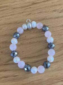 Thomas Sabo Silver pearl hematite & rose quartz bead charm Carrier bracelet