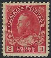 Scott 109c - 3c Carmine King George V Admiral, Dry Printing, Die II, VF-HR