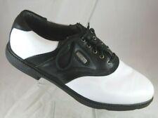 Mens FootJoy FJ Super Lites White Black Leather Saddle Golf Shoes Cleats SZ 11 M