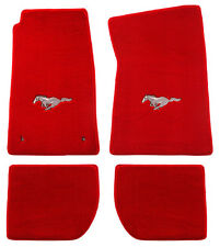 NEW 1964-1973 Ford Mustang RED Floor mats with Logo Set of 4 Carpet Runnin Horse