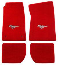 NEW 1964-1973 Mustang RED Floor mats with Logo Set of 4 Carpet Runnin Horse CVT