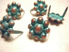 """20 Round Berry Spots 5/8"""" Antique Copper Green/turq Patina 2 Prong"""