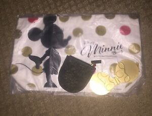 New Sephora Minnie Mouse Bag And Handheld Gold Mirror Compact Set