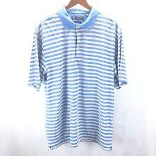 Mens Oxford Golf Polo Athletic Shirt Yellow Blue Striped Sz L Super Dry Coolmax