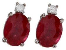 4.18ct Natural Red Ruby and Diamond 14K Solid White Gold Earrings