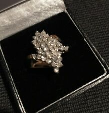 10K Solid Yellow Gold Cocktail Ring With 1 CT  Diamonds