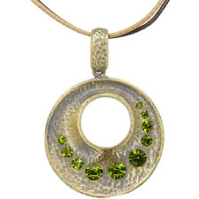 Circle Open Pendant Leather Necklace Charm Austrian Crystal Peridot Jewelry Gift