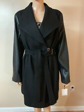 NEW Calvin Klein WOMAN WOOL With Leather Sleeve COAT XL Retail From $300