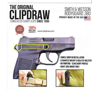 Clipdraw Belt Clip for Smith & Wesson Bodyguard 380 IWB OWB Black - Right Mount