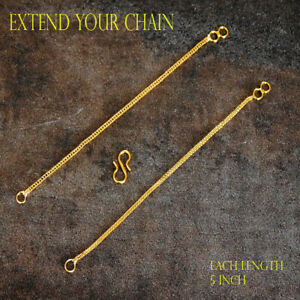 9ct Yellow Gold Necklet / Necklace Bolt Ring Extender & Safety Chain Necklace