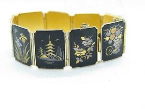 Vintage Japanese Signed Amita Damascene Enamel Bracelet