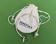 "Genuine PANDORA Bracelet w/Minnie Mouse & Airplane Charms 7.5"" Lobster Clasp EUC"