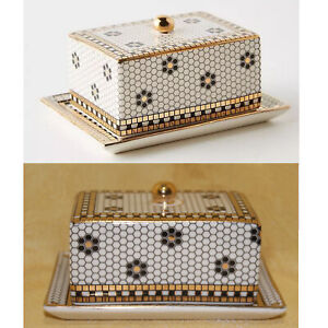 Anthropologie Hello Butter Dish Bistro Tile Mosaic 2 PCS Set Gold Accent Chic