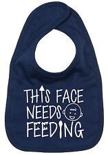 """Funny Baby Bib """"This Face Needs Feeding"""" Cute Feeding Boy Girl Gift"""